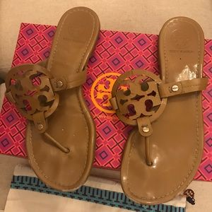 Tory Burch Miller Sandal in Sand Patent Leather